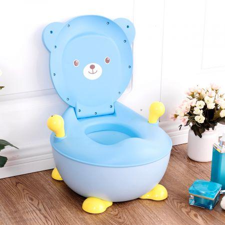 Costway Pot de Bébé Siège de Toilettes pour Bébé Enfant avec Couvercle Anti-odeur en Forme d'Ours Bleu