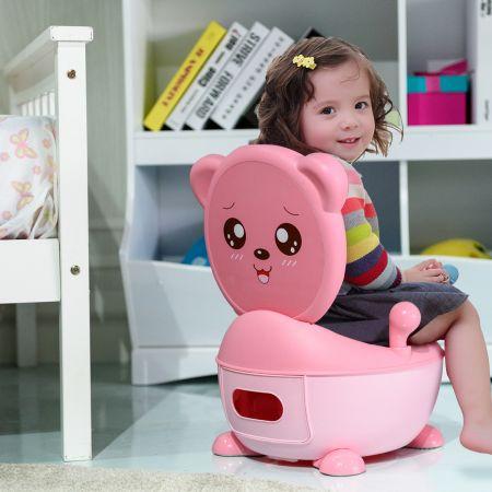 Costway Pot de Bébé Siège de Toilettes pour Bébé Enfant avec Couvercle Anti-odeur en Forme d'Ours Rose