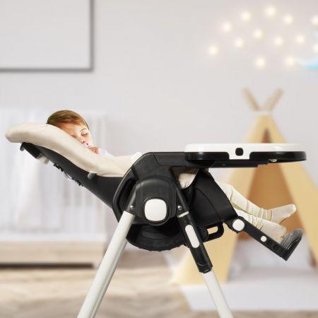 Costway Chaise Haute Bébé Pliable pour 0-5Ans Charge 15KG 6 Réglages en Hauteur Beige
