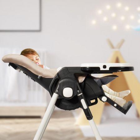 Costway Chaise Haute Bébé Pliable pour 0-5Ans Charge 15KG 6 Réglages en Hauteur Marron