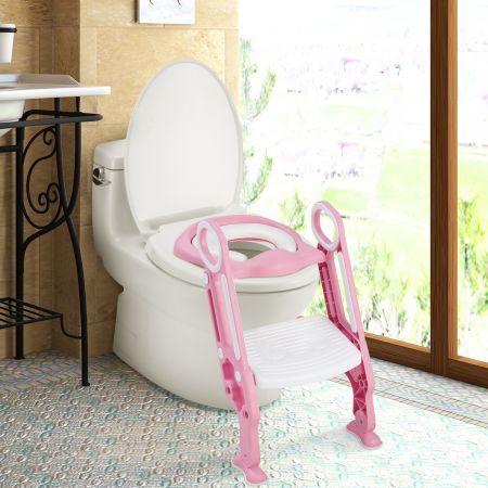 Costway Siège de Toilettes pour Bébé Réglable et Pliable avec Echelle Siège Rembourré Capacité de Charge Max.75KG