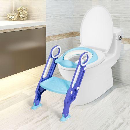Costway Siège de Toilettes pour Bébé Réglable et Pliable avec Echelle Siège Rembourré Large Marchepied Violet et Bleu