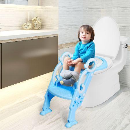 Costway Siège de Toilette pour Enfants Pliable et Hauteur Réglable en PP&PVC Convient aux Enfants 1-8 Ans Bleu