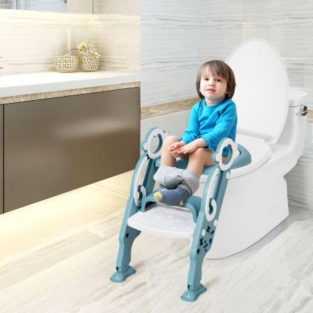 Costway Siège de Toilette pour Enfants Pliable et Hauteur Réglable en PP&PVC Convient aux Enfants 1-8 Ans Vert
