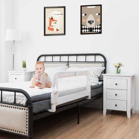 Costway Barrière de Lit Pliable pour Bébé / Enfant 105 x 40 x 42 CM en Tissu Oxford Angle 0°-180°avec Mousse Souple Blanc