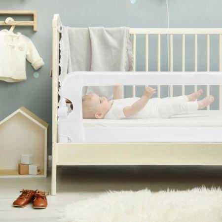 Costway Barrière de Lit pour Enfant / Bébé 150 CM Maillage Rabattable et Portable Protection Bord de Lit Blanche