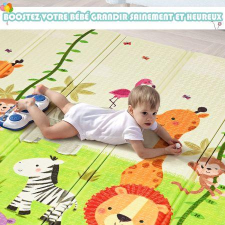 Costway Tapis de Jeu pour Bébé Pliable 200 x 180 x 1,4CM avec l'Image Singe et Poney en Mousse XPE Non Toxique