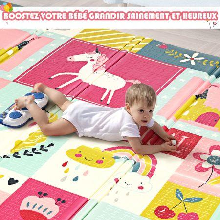 Costway Tapis de Jeu pour Bébé Pliable avec Image Licorne et Poney en Mousse XPE Non Toxique 200x180x1,4CM