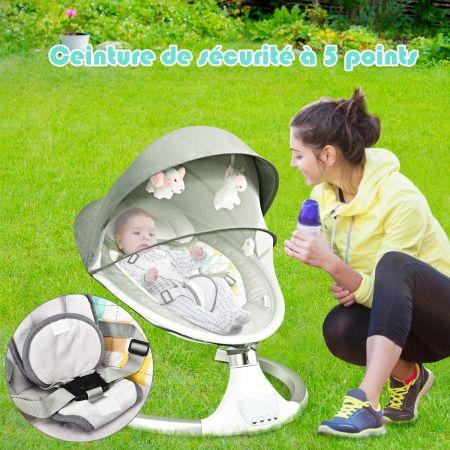 Costway Transat Balancelle Electrique pour Bébé à 9KG avec Télécommande 5 Amplitudes de Vibration Minuterie 10 Musique Bluetooth/USB