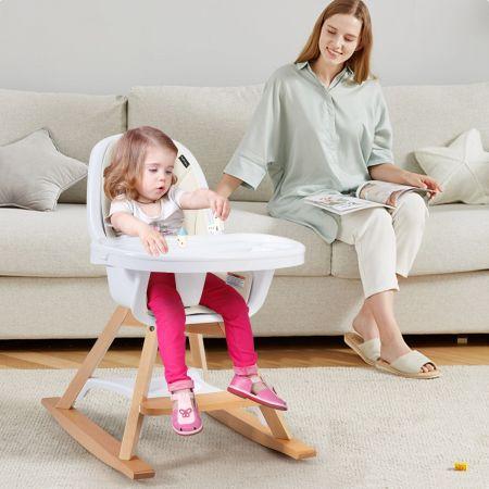 Costway Chaise Haute Bébé 3 en 1 Convertible Pieds Remplaçables et Barre pour Bascule avec Plateau Repas et Coussin Amovibles Beige