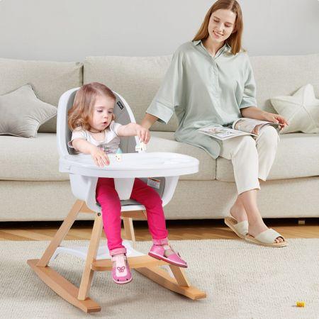 Costway Chaise Haute Bébé 3 en 1 Convertible Pieds Remplaçables et Barre pour Bascule avec Plateau Repas et Coussin Amovibles Gris
