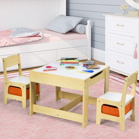 Costway Ensemble Table et 2 Chaises pour Enfant en Bois Tableau Transformable avec Chaise Fonction de Stockage