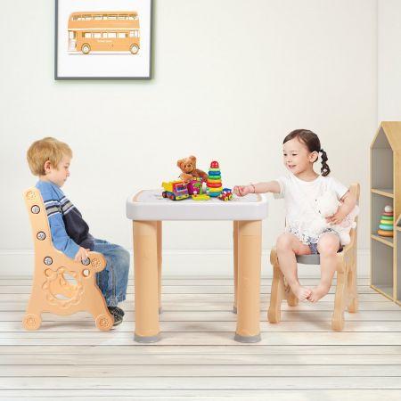Costway Ensemble Table et 2 Chaises pour Enfants 3-7 Ans en PP Chaises Réglable en Hauteur Couleur Naturelle