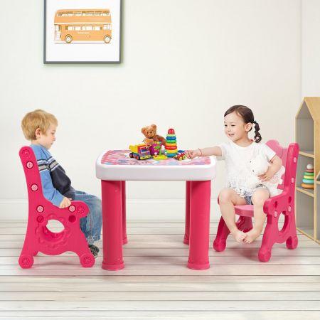 Costway Ensemble Table et 2 Chaises pour Enfants 3-7 Ans en PP Chaises Réglable en Hauteur Couleur Rose