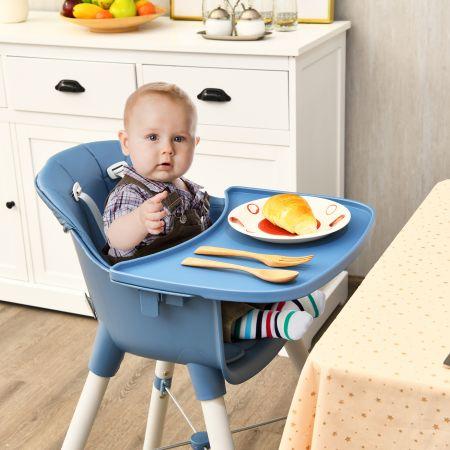 Costway Chaise Haute Bébé Convertible 3 en 1 pour 6 Mois 3 Ans Hauteur Réglable avec Repose-Pieds et Plateau Amovible Charge 15KG