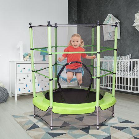 Costway Trampoline de Jardin Enfant 140cm de Diamètre avec Filet de Sécurité Vert