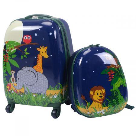 Costway Valise Enfant+ Sac à Dos Bagage Trolley à Roulettes pour Enfant Motif Animaux Idéal pour Voyage avec Enfant