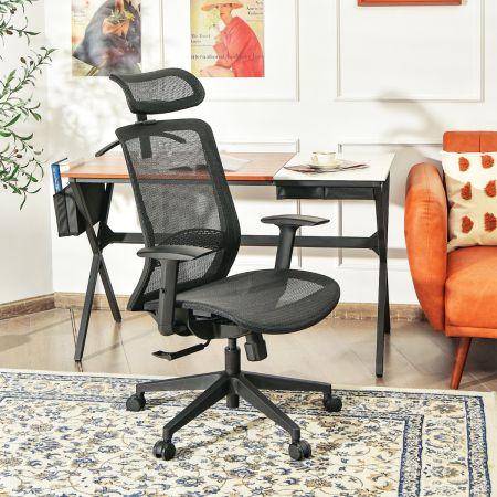 Costway Chaise de Bureau en Maille Pivotant avec Renfort Lombaire Appui-tête Dossier Inclinable et Cintre Charge Max 110 KG Noir