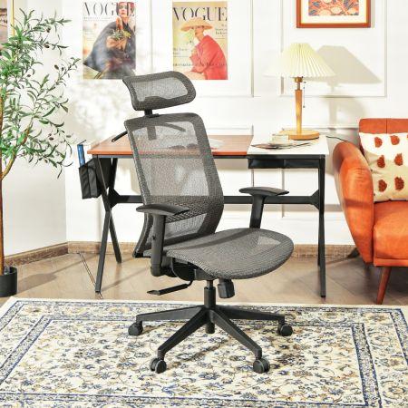 Costway Chaise de Bureau en Maille Pivotant avec Renfort Lombaire Appui-tête Dossier Inclinable et Cintre Charge Max 110 KG Gris