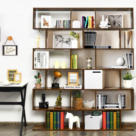 Costway Bibliothèque/Étagère de Rangement à 6 Niveaux-80x23x191 CM de Style Industriel en Forme de S pour Salon Chambre Café