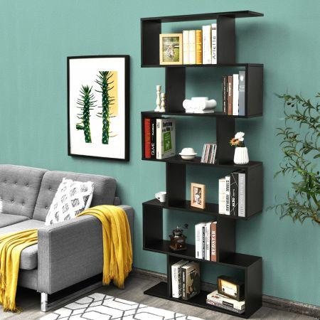 Costway Bibliothèque/Étagère de Rangement à 6 Niveaux-80x23x191 CM de Style Industriel en Forme de S pour Salon Chambre Noir