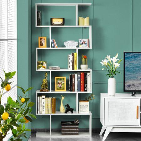 Costway Bibliothèque/Étagère de Rangement à 6 Niveaux-80x23x191 CM de Style Industriel en Forme de S pour Salon Chambre Blanc