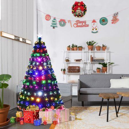 Costway 150cm Sapin de Noël Artificiel LED Lumineux 180 Branches Lumière à Variation de 6 Couleurs avec Etoile à la Cime