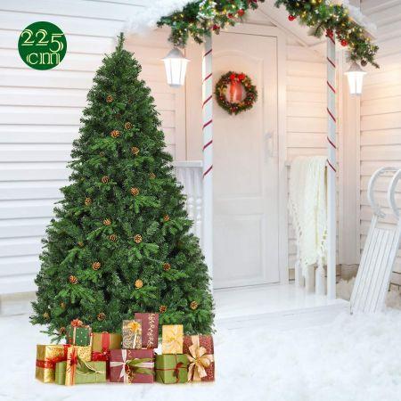 Costway Sapin de Noël Artificiel avec Lumières LED et Pied en Métal Matériau PVC et PE 225cm