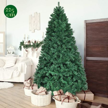 Costway Sapin de Noël Artificiel avec Lumières LED et Pied en Métal Matériau PVC 225 cm