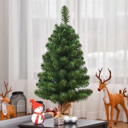 Costway Mini Sapin de Noël Artificiel de Table H90CM en PVC 96 Branches Arbre de Noël Epicéa à Piles