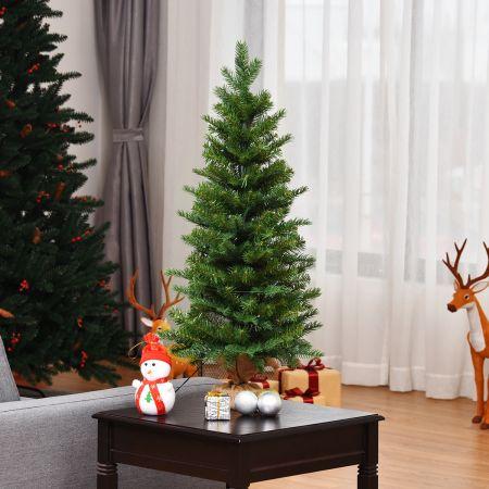 Costway Arbre de Noël de Table H90CM dans Sac de Lin Sapin Epicéa en PVC+PE avec Fonction de Minuterie 363 Branches 50 Lumières LED
