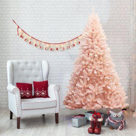 Costway Arbre de Noël Artificiel 180 cm Aiguilles en PVC 617 Branches Support Métallique Solide Rose