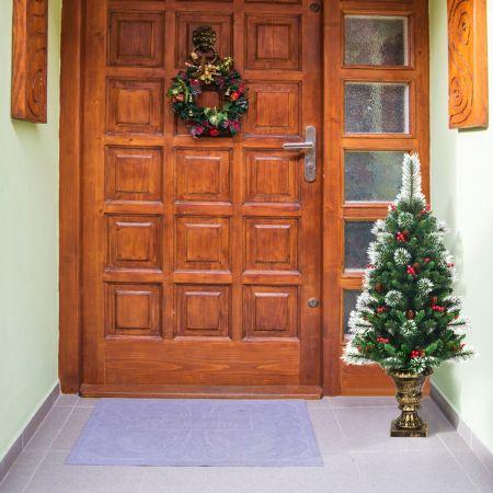 Costway Sapin de Noël Artificiel 120cm avec Aiguilles Scintillantes en PVC Pommes de Pin Base Enveloppée