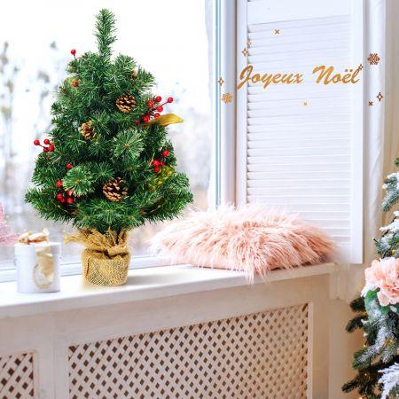 Costway Mini Arbre de Noël Artificiel de Table H60CM en PVC avec 34 Branches Base de Ciment en Toile de Jute