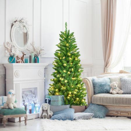 Costway Sapin de Noël Artificiel 150cm avec Lumières Blanc Chaud 300 Branches Support en Fer Robuste