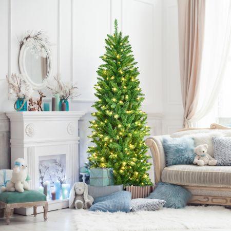 Costway Sapin de Noël Artificiel 180cm avec Lumières Blanc Chaud 743 Branches Support en Fer Robuste