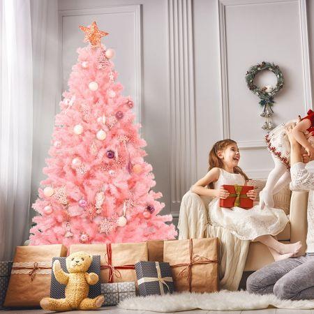Costway Sapin de Noël Artificiel 180 cm Couleur Fleur de Cerisier en PVC avec Support en Métal Pliable 1036 Pointes de Branches