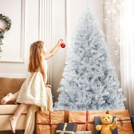 Costway Arbre de Noël Artificiel 180 CM avec 1036 Branches Sapin Argentée Artificile Support Métallique