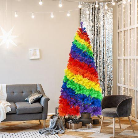 Costway Sapin de Noël Artificiel 213 cm Couleurs Arc-en-ciel en PVC avec Support en Métal Pliable 1213 Pointes de Branches