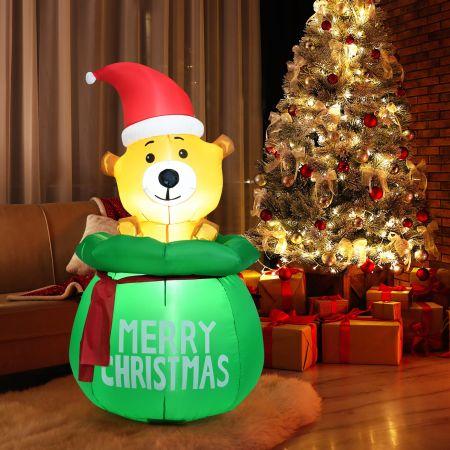 Costway Ours Gonflable de Noël 1,5M avec Bonnet de Noël Lumière LED avec Ventilateur Tissu Imperméable
