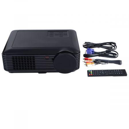 Costway Vidéoprojecteur HD Projecteur LED Supporte 1080P 2600 Lumens Contraste 1000:1 Soutien AV Audio VGA USB HDMI Multimédia