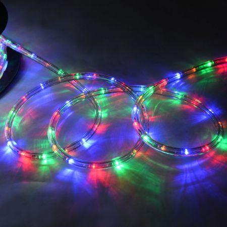 Costway Tube Lumineux LED 20m Cordon Lumineux 720 Ampoules Beige Blanc Froid Multicolore 230V-Coloré