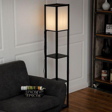Costway Lampadaire avec 3 Niveaux Etagère pour Stockage Noir Design Scandinave Lampe sur Pied (Ampoule non inclus) 60W