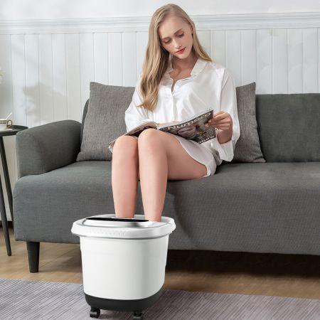 Costway Bain de Pied 15L avec Ecran LED 6 Rouleau de Massage Chaleur Automatique 35℃-48℃ Gris