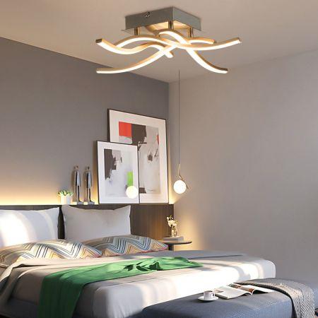 Costway Plafonnier LED Dimmable Design 4 Bras à 3 Ampoules de Fer Aluminium Style Moderne