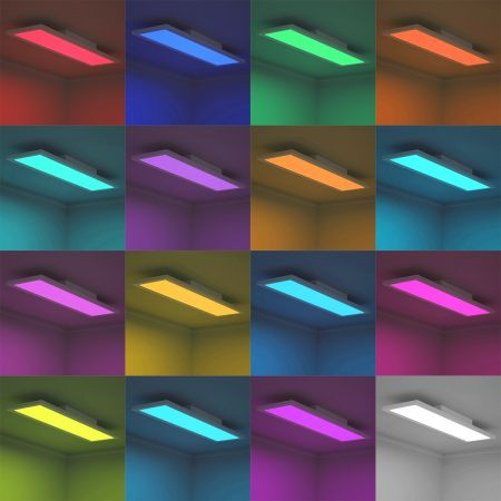 Costway 18W LED Plafonnier Dimmable Moderne Blanc avec 196 LED et 1300Lm 220V-240V Télécommande avec Bluetooth 4 Modèles de Lumière