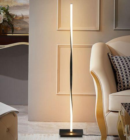 Costway Lampadaire Salon Dimmable LED 122CM Moderne Créative en Spirale avec Interrupteur au Pied 20W Noir