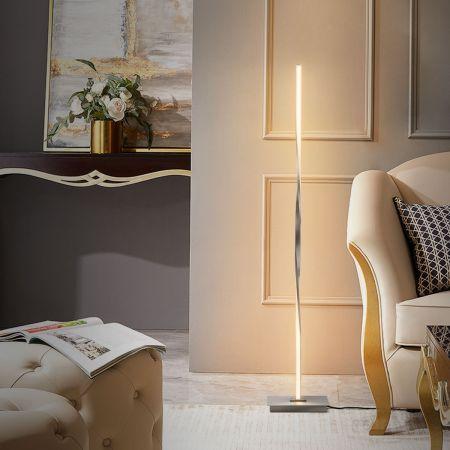 Costway Lampadaire Salon Dimmable LED 122CM Moderne Créative en Spirale avec Interrupteur au Pied 20W Argenté