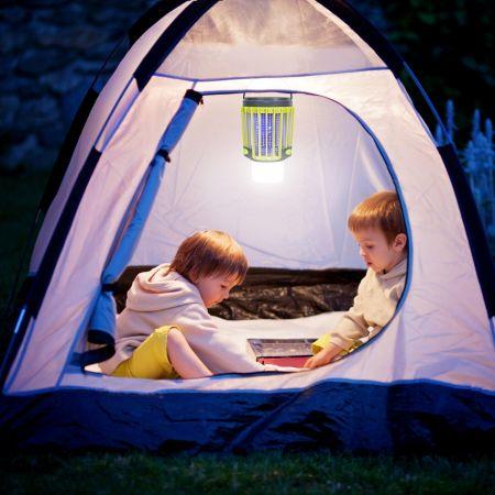 Costway Lanterne de Camping Anti Moustique 3 en 1 Rechargeable 2200mah avec Eclairage de Secours 4 Modes d'Eclairage