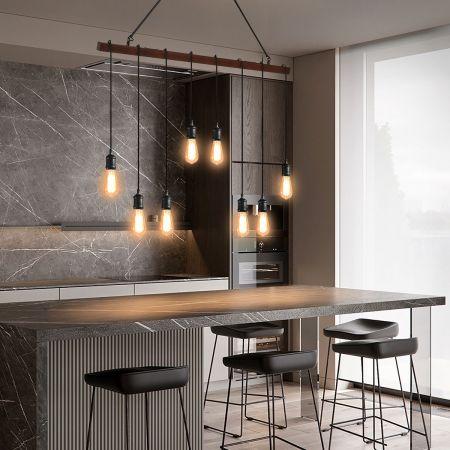Costway 8 Lampes Suspension Luminaire Industriel pour Ampoule E27 avec Support en Barre Longueur Réglable